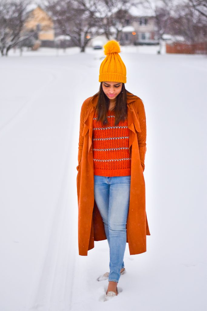 Suede coat in snow
