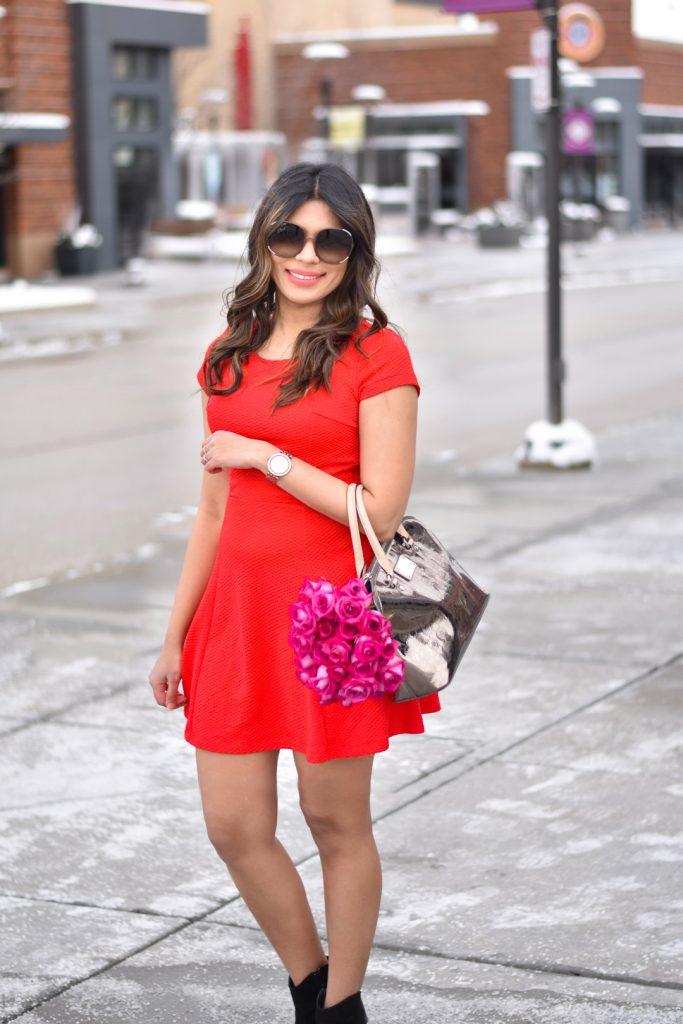 Red short dress Valentines Day