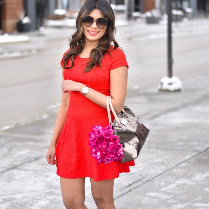 Red short dress Valentines Day