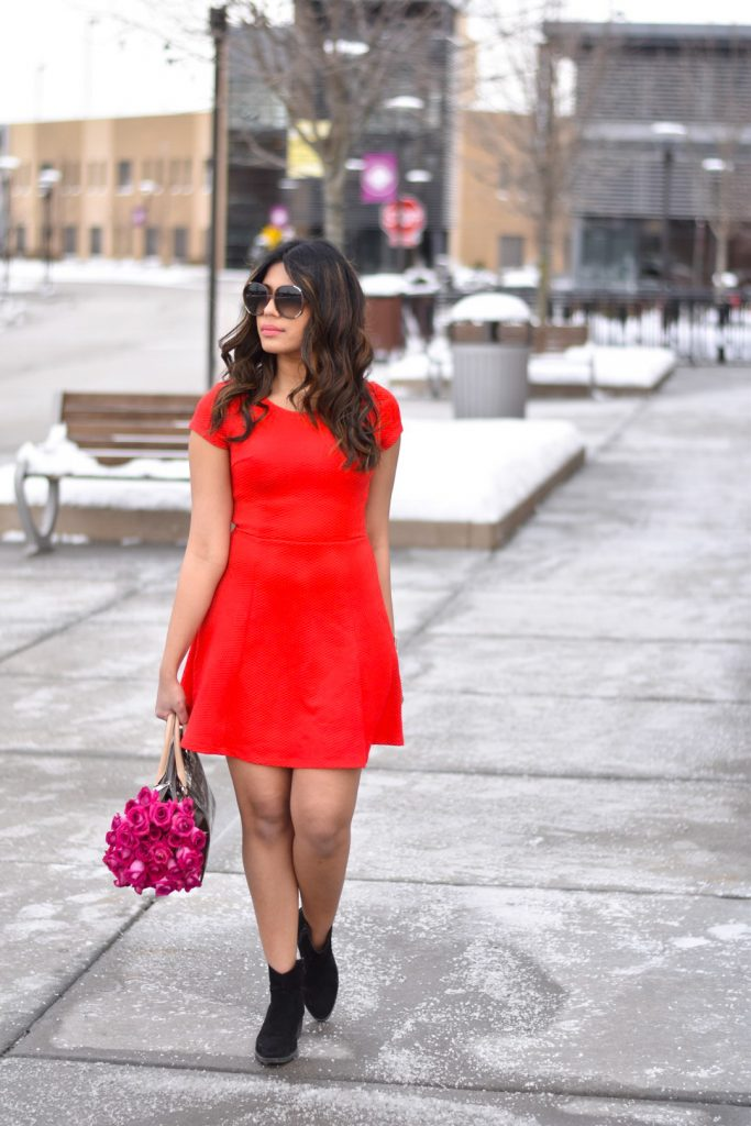 Red short dress and roses