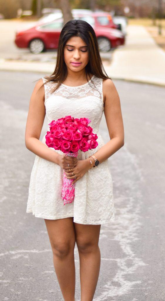 White dress pink roses
