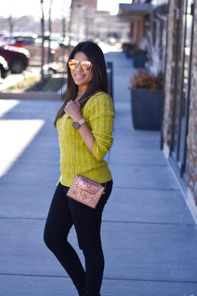 Green sweater top