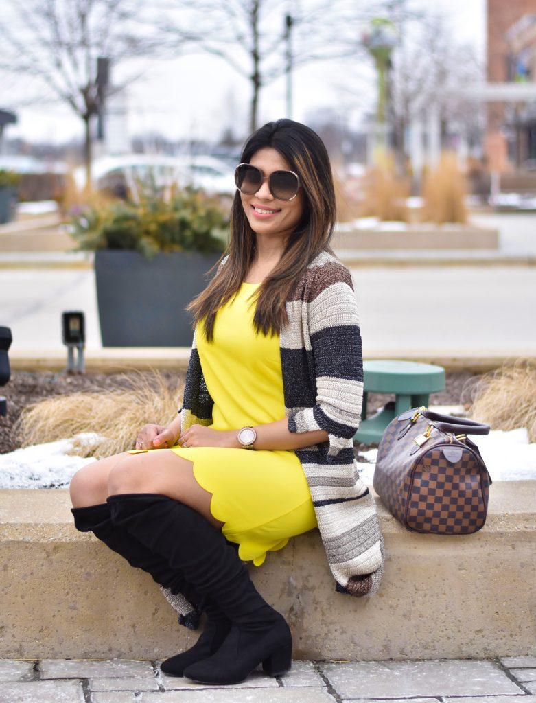 Yellow dress and bag