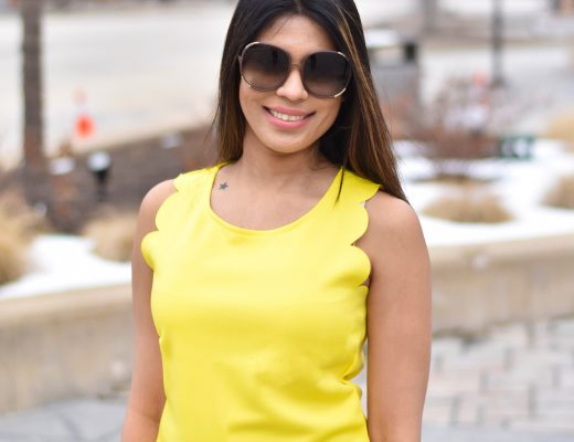 Yellow scallop neck